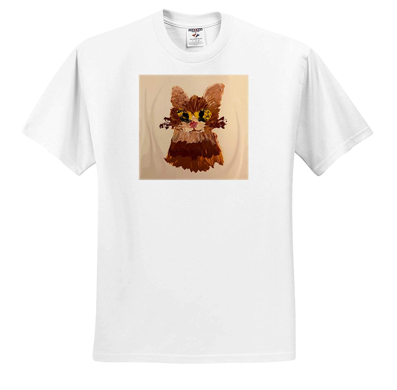 Adult T-Shirt XL 3dRose CherylsArt Animals Cat Art ts/_311421 Finger Painting of Cat Face Head