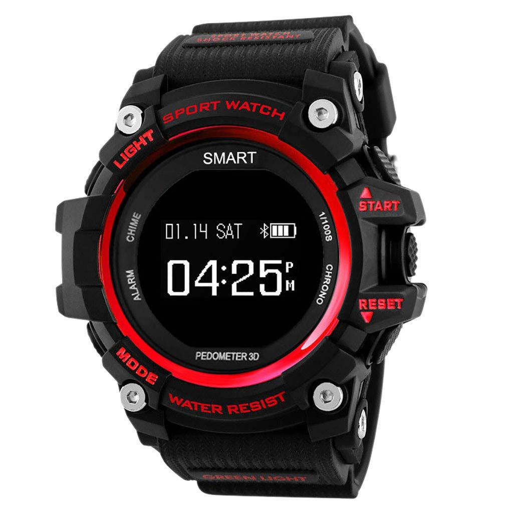 Letdown Smart Watch Sports Fitness Tracker Heart Rate Blood Pressure Calories Waterproof Lightweight Versatile Smart Wrist Watch (Red)