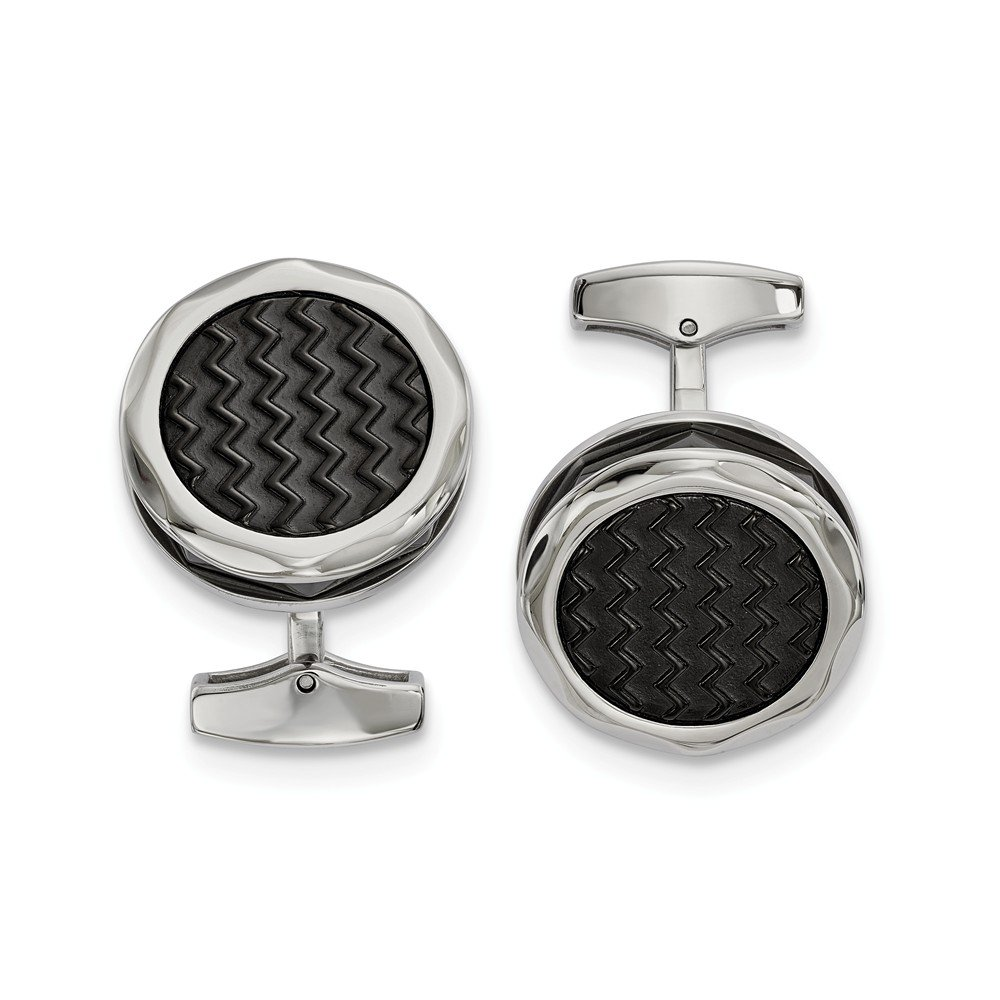 13.1mm x 23.7mm Stainless Steel Polished Zig Zag Black IP-Plated Round Cuff Links
