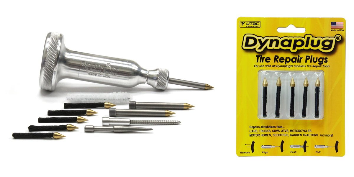 Dynaplug Tubeless Tire Repair Tool Kit, Xtreme Aluminum, along with Extra Repair Plugs 5-Pack