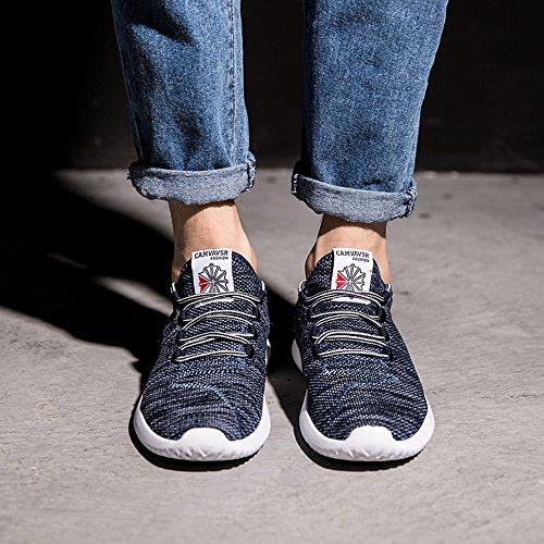athlétique Bleu CUSTOME décontractée en tissu lacer tricoter homme baskets xqgBYwZOq