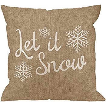 HGOD DESIGNS Let It Snow Pillow Cover Snowflake Cotton Linen Cushion Cover Pillowcase for Men Women Home Decorative Sofa Armchair Bedroom Livingroom 18 x 18 inch