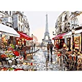 DIY Oil Painting, Landscaping Paint by Numbers Kit for Kids Adults Women Men Husband and Wife Unique Anniversary Gifts - France Romantic Paris Street Eiffel Tower 16 x 20 Inches Frameless