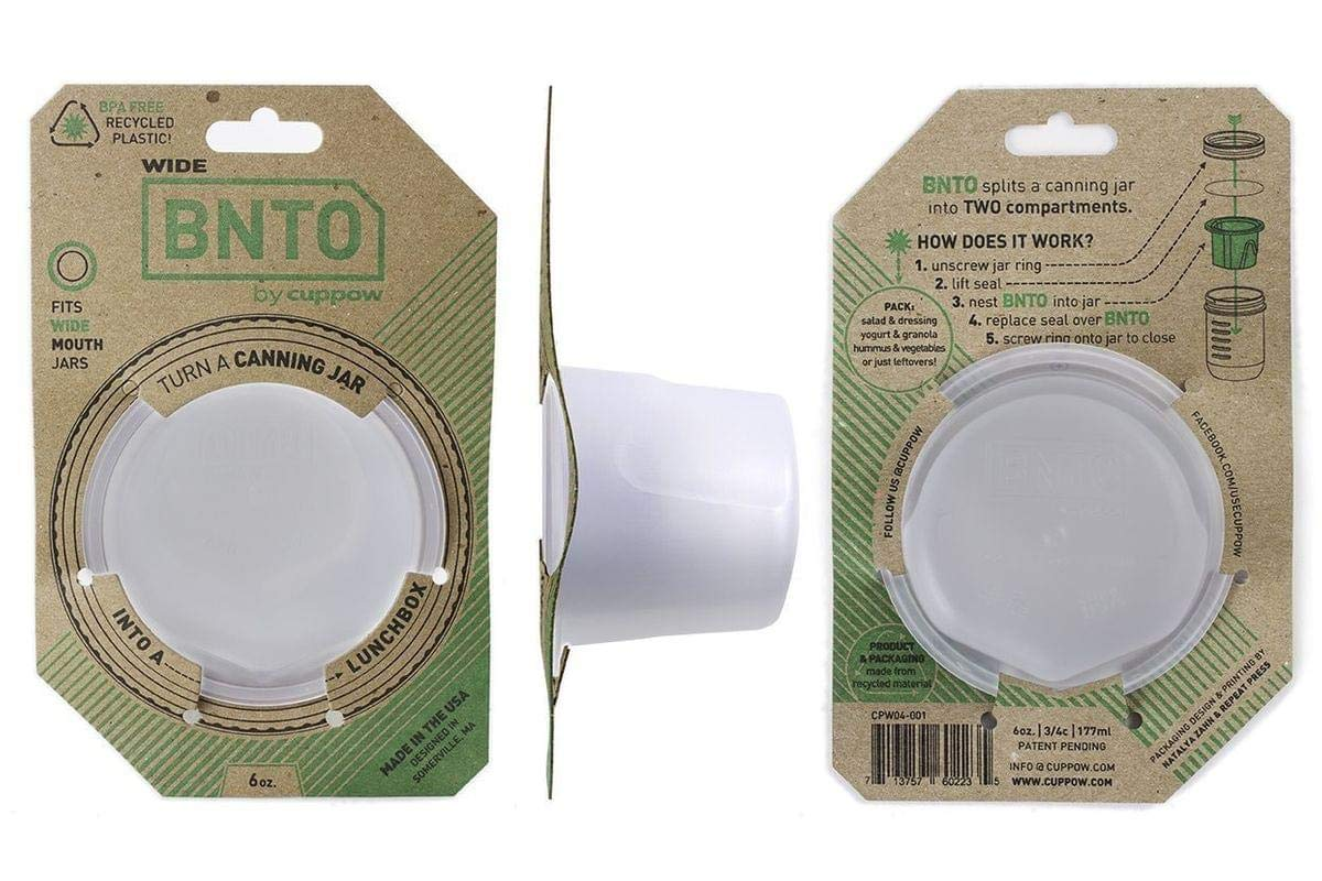 BNTO by Cuppow - Canning Jar Lunchbox Adaptor - Wide Mouth - 6oz - Clear by Cuppow Officially Licensed & Trademarked Products CPW04-001