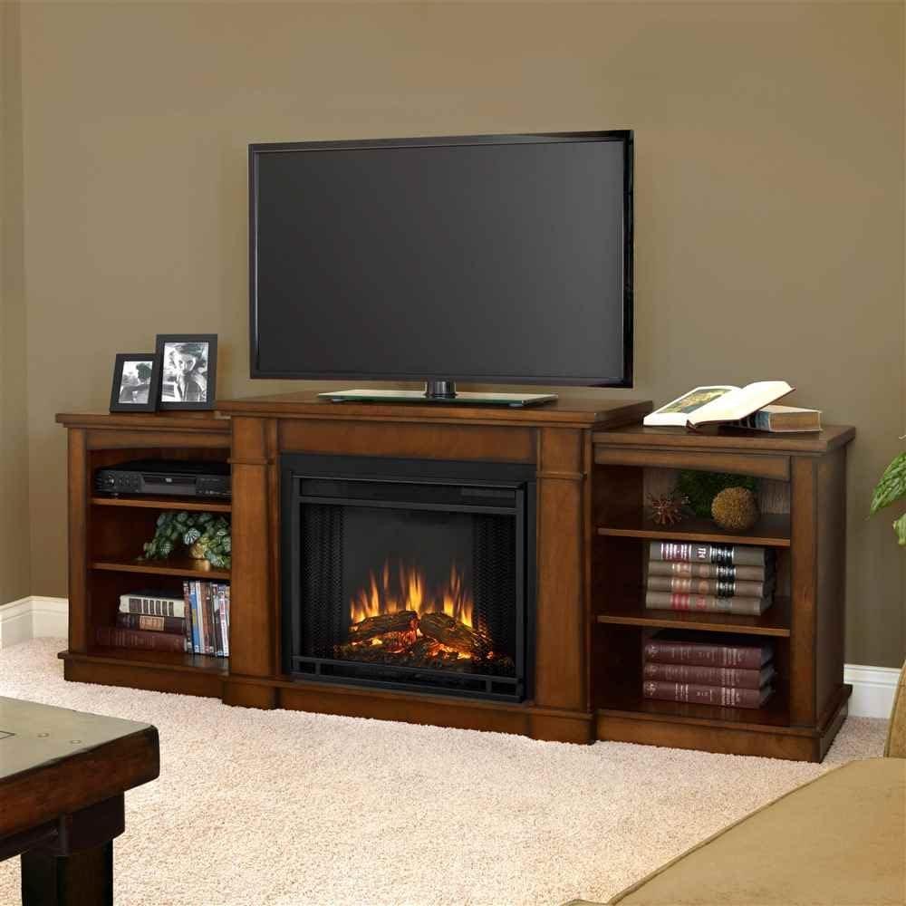 Llama Real Hawthorne chimenea eléctrica soporte de TV en roble ...
