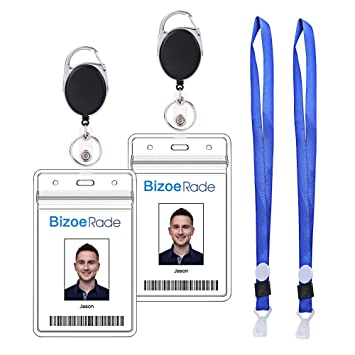 06b755286cd6 Retractable Badge Holder,2 Pack BizoeRade Heavy Duty Vertical ID Holder  with Key Ring & Lanyard for Office Company Employee School Student Nurse ID  ...