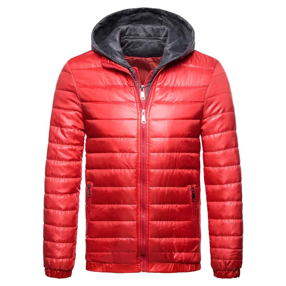 Realdo Mens False 2 Piece Down Jacket, Mens Long Zipper Hoodie Outwear Top