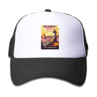e6b12f9365d Image Unavailable. Image not available for. Color  Travel Poster Acadia  National Park Child Baseball Caps ...