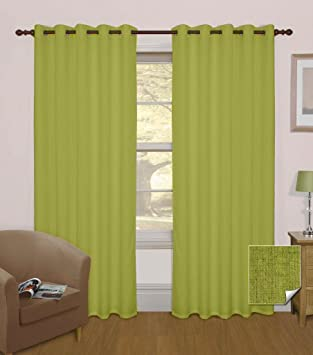 Homescapes Eyelet Ring Top Green Thermal Blackout Curtains Pair ...