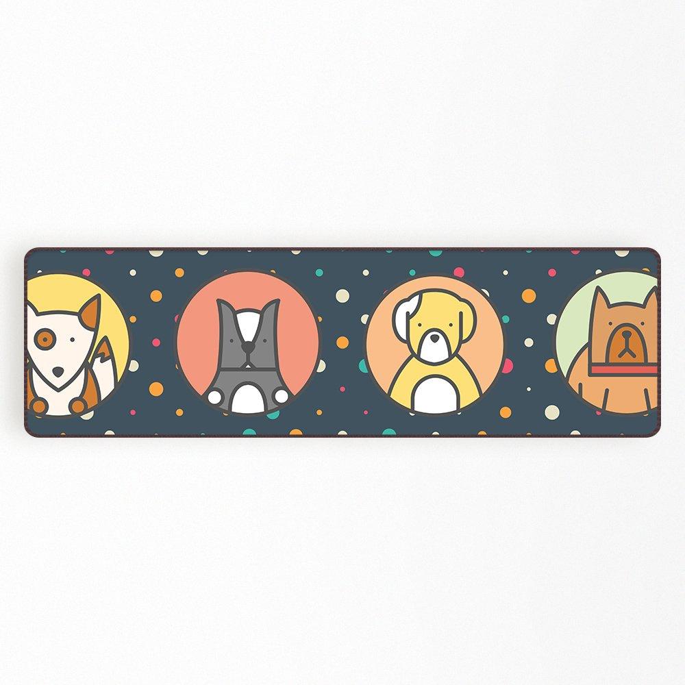 Orange Design Cartoon Dogs Kitchen Area Rug Entrance Doormat for Kids Pets Bathroom Living Room Carpet Non Slip 15.7''x 63''
