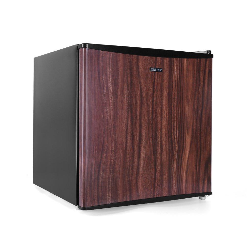 BESTEK Compact Refrigerator Energy Star Single Door 1.6 cu ft. Mini Fridge with Freezer - Wood Grain Finish (UL Listed)