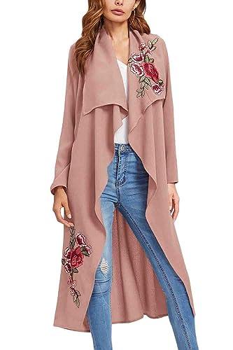 La Mujer Otoño Invierno Elegantes Abrigos Con Cinturón Bordado Irregular Maxi Trenchcoat