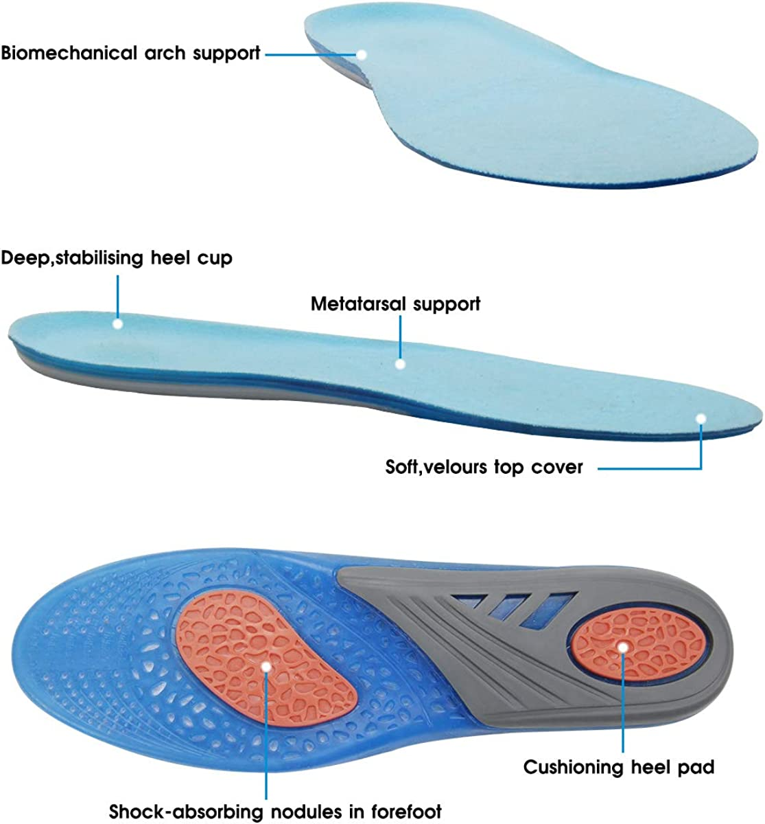 AziPro Solette in Silicone per Scarpe Gel Solette Comfort Sport Ortopediche Possono Essere Tagliate Plantare Sportive Soletta per uomo donna