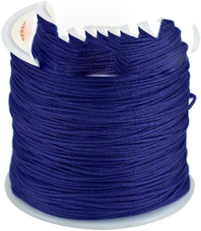 Roll 0.8mm Multicolor Hilo Chino Nudo del cord/ón Cuerda de Nylon Macrame Rattail Pulsera Trenzada Cuerda el Hilado de la Cuerda Azul LLAAIT 45M