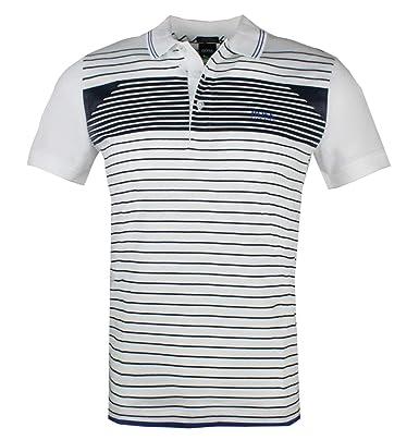 c9898b343 Hugo Boss Men's White Paddy 5 Striped Polo (S): Amazon.com.au: Fashion