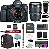 CANON EOS 6D MARK II DSLR Camera w/ Canon EF 24-105mm F/4L IS II USM Lens + BG-E21 Battery Grip + Canon CarePak Protection + Professional Accessory Bundle - Including EVERYTHING You Need To Go Pro
