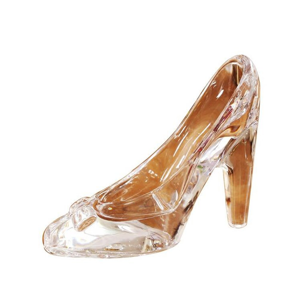 QING Crystal Clear Glass Slipper Shoes Cake Topper Decoration Wedding Party Birthday Present (Clear White)