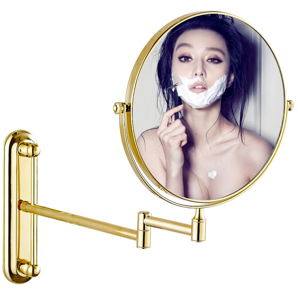 GURUN 7x Magnification Adjustable Round Wall Mount Mirror 8-inch Double Sided Makeup Mirrors,Gold Finish M1806J(8in,7x)