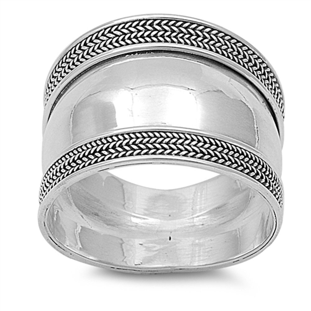 Polished Bali Rope Wide Thumb Ring New .925 Sterling Silver Band Size 8