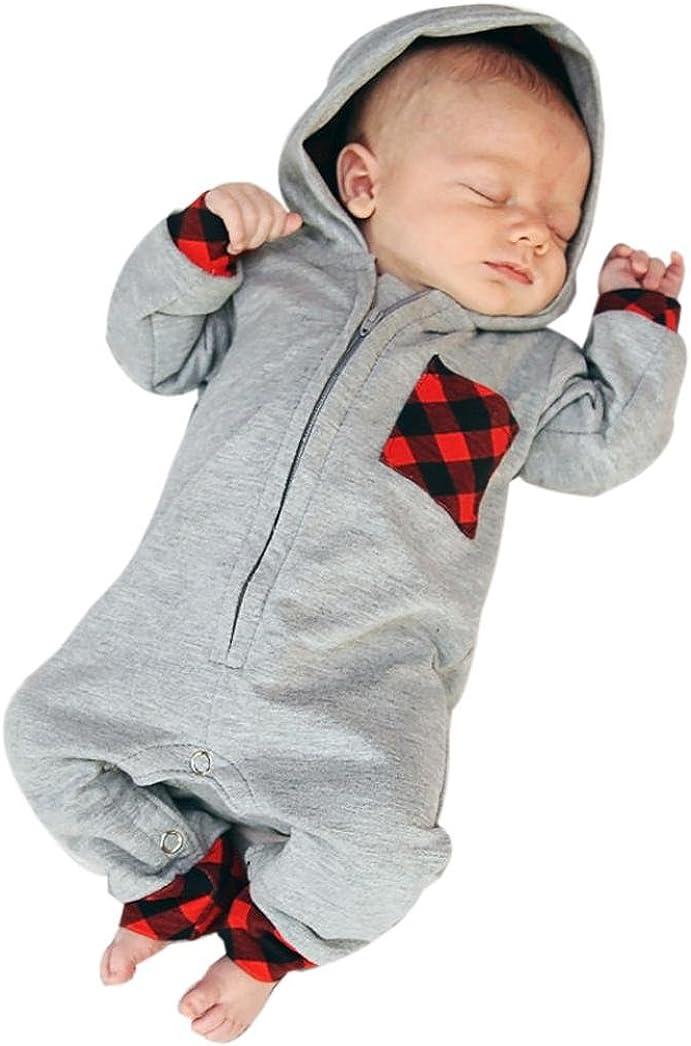 K-youth Ropa Bebe Recien Nacido, Niño Bebé Mono con Capucha Enrejado Impresión Ropa Manga Larga Bebé Mamelucos Bebé Unisex Ropa de Mono