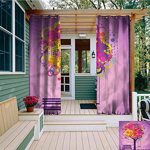 (Beihai1Sun Outdoor Curtains,Tree Colorful Leaves Swing Art,for Patio/Front Porch,W108x108L)