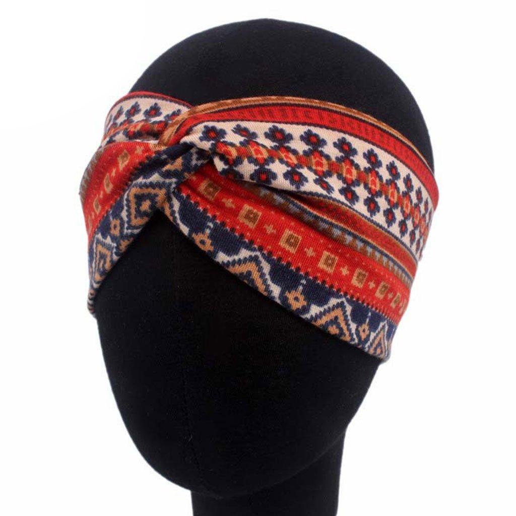 cuigu Mujer /étnico Impreso querbreites cinta 8.66x3.54in verdrehter turbante de el/ástico Hairband borgo/ña 22x9cm