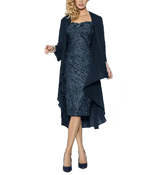 WHZZ Women\u0027s Tea Length Mother Of The Bride Dress With Jacket Dress 271