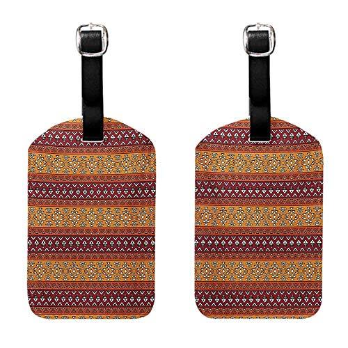 Instrument Tag Native American,Maya Inspired Horizontal Esoteric Latin Inspired Geometric Pattern Print,Ruby Apricot Getaway Luggage Tag