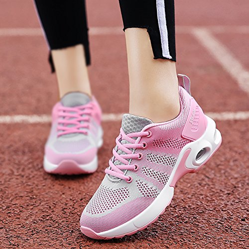 No.66 Town Dames Luchtkussen Comfortabele Sneakers Lichtgewicht Flyknit Hardloopschoenen Us5.5-8.5 Pink