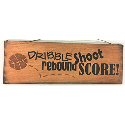The Little Store Of Home Decor Dribble Shoot Rebound Score Boys Basketball Sports Bedroom Hand Stenciled Wooden Wall Art Sign: Home & Kitchen