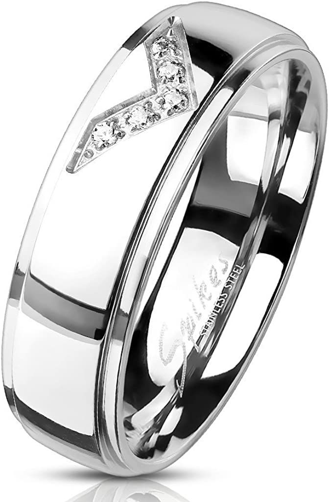 S/&H JEWELRY CNC Machine Set CZ Paved Chevron Centered Stepped Edges Classic Dome Stainless Steel Rings