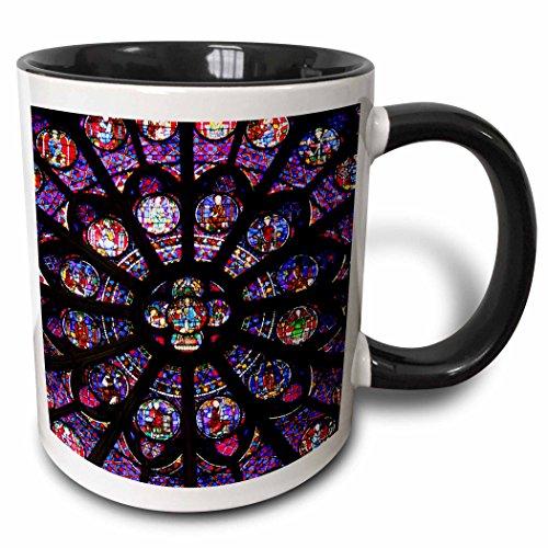 (3dRose Danita Delimont - Kymri Wilt - Windows - France, Paris. Stained glass windows of Notre-Dame Cathedral. - 15oz Two-Tone Black Mug (mug_188736_9))
