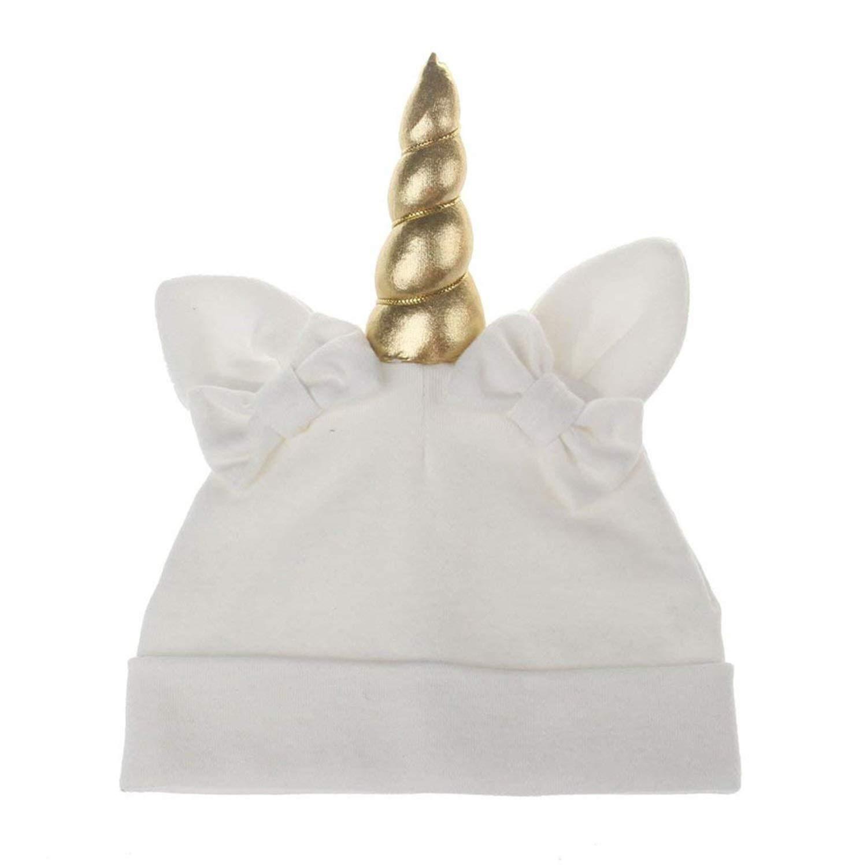 Cappello Unicorno Bianco con Orecchie e Fiocchi in Cotone