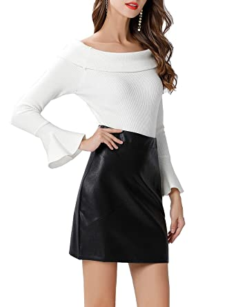 0735175a51 GUANYY Women's Faux Leather Vintage High Waist Classic Slim Mini Pencil  Skirt(Black,Small
