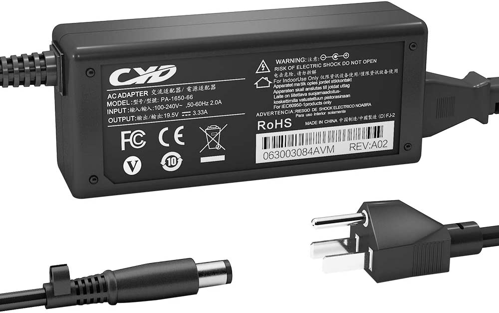 CYD 65W Laptop-Charger Adapter Replacement for HP Pavilion G4 G6 G7 DV3 DV4 DV5 DV7 DM4 N17908 NC6400 DV7-2185DX NW8440 2000-2C29WM 2000-2D49WM 2000-2B09WM 2000-2D24DX 2000-329WM Power Supply Cord