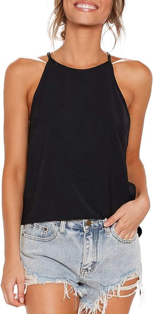 Camiseta sin mangas Floral de Verano Informal Suelta Damas Prendas para el torso Camiseta de cuello redondo para mujer del chaleco