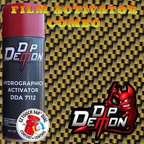 DIP DEMON Hydrographic Film Carbon Fiber Combo Kit Gold and Black Carbon Fiber Hydro Graphic Water Transfer Film Activator Hydro Dipping