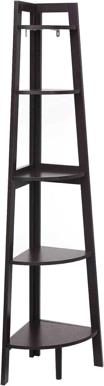 VASAGLE Corner Shelf, 5-Tier Ladder Shelf, Bookcase, Plant Stand Storage Rack for Living Room, Bathroom, Bedroom, Home Office, Brown ULLS91BR