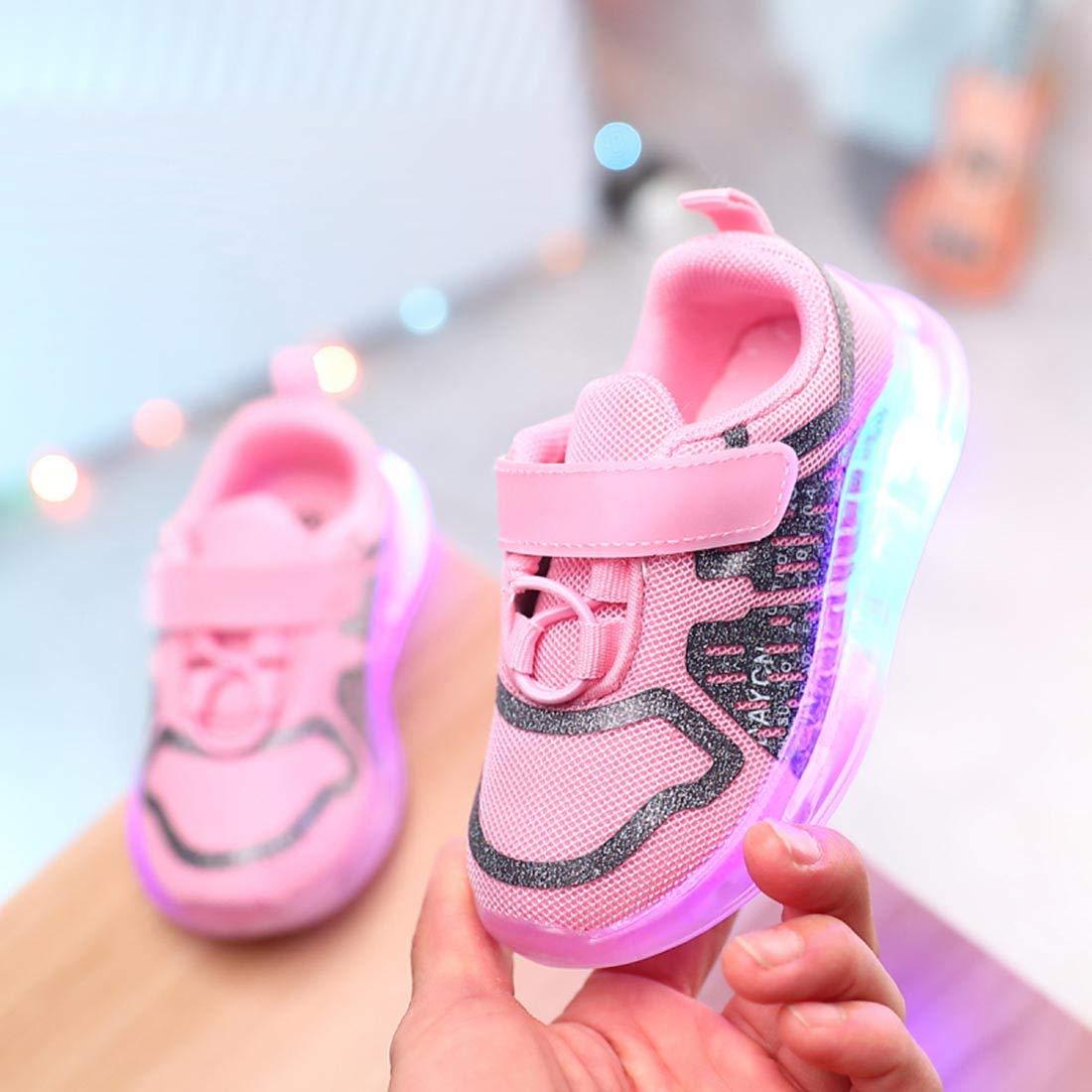 Toddler Boys Girls Light Up Sport Running Shoes YIBLBOX Unisex Kids Luminous Sneakers