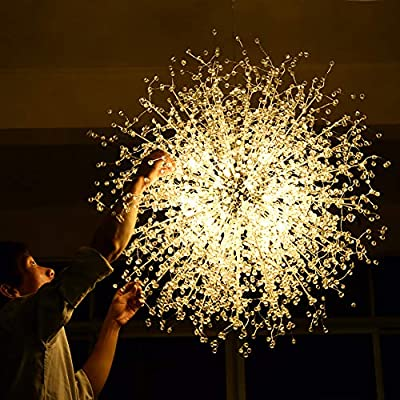 Arccqi Firework LED Light Crystal Chandeliers Stainless Steel Ceiling Pendant Lighting with LED Blubs