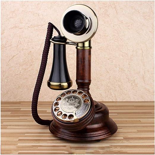 SMC Retro Roble Teléfono Fijo inalámbrico Tocadiscos Vintage Mecánico Tono de Llamada electrónico Dial Línea Fija Viejo Hombre Europeo Receptor único Teléfono con Relieve: Amazon.es: Hogar