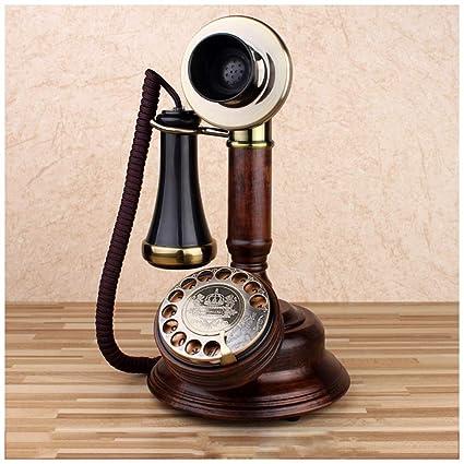 ac1046192f7 XIUXIU Telefono fijo Retro Roble Teléfono Fijo inalámbrico Tocadiscos  Vintage Mecánico Tono de Llamada electrónico Dial