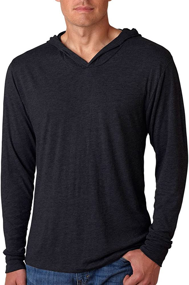 XX-Large Next Level Apparel Mens Tri-Blend Extreme Soft Rib Knit Hoodie Vintage Black