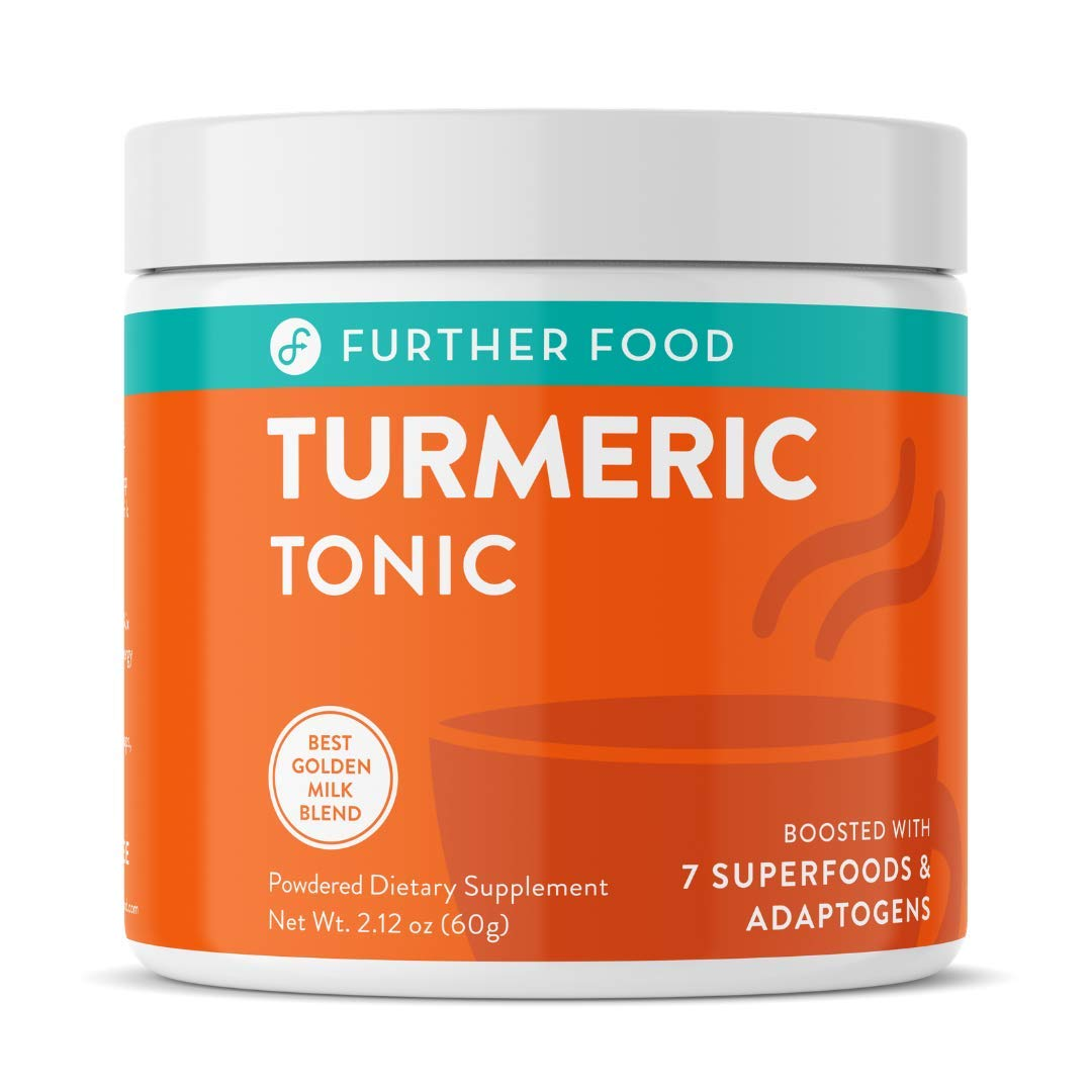 Further Food Turmeric Tonic: Golden Milk Turmeric Powder Supplement Boosted with 7 Superfoods & Adaptogens | Sugar-Free, Non-GMO, Vegan (2.12 oz.)