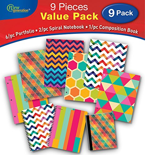 Fashion 2 Pocket Folders, 9/PC Value Pack by New Generation,Pocket Folder Cover Features Super Fashion Assorted Designs Great for School Great for Fashion Lovers 3 Piece NOTEBOOKS ()