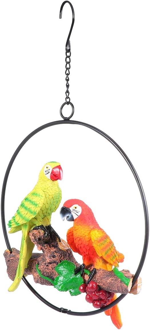 DOITOOL Hanging Parrot Statue Parrot Sculpture Bird Figurine Perched On Metal Ring Garden Patio Home Decor for Nature Lovers Tropical Bird Collectors
