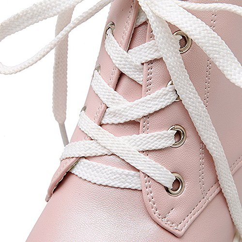 AmoonyFashion Womens Kitten-Heels Soft Material Ankle-high Solid Lace-Up Boots Pink 8lUk6T