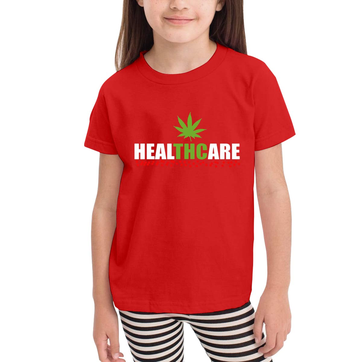 Kids T-Shirt Tops Black Healthcare Cannabis Medical Weed Unisex Youths Short Sleeve T-Shirt
