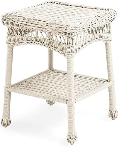 Plow Hearth 39007-BWH Easy Care Outdoor Resin Wicker End Table