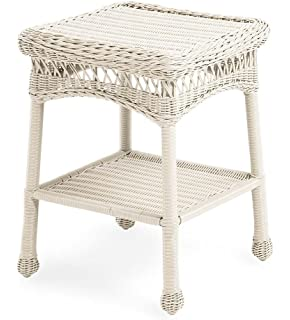 Amazoncom Wicker Lane Outdoor White Wicker Patio Furniture End